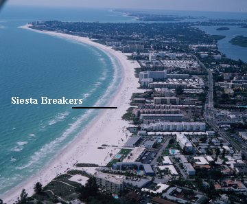 Siesta Breakers resort condos on Siesta Key, off the coast of Sarasota Florida on the Gulf of Mexico